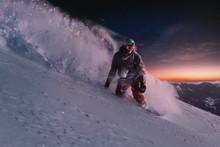 Night Skating Snowboarder Curv...