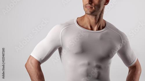 Closeup photo of fit athletic man with sportive muscular body Obraz na płótnie