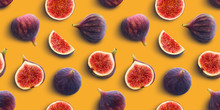 Fresh Figs Seamless Pattern On Yellow Color Background, Flat Lay, Top View