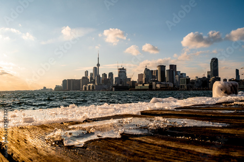 Blurry Toronto Skyline at Polson Pier during Winter