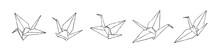 Hand Drawn Paper Cranes Set, I...