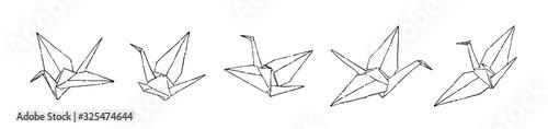 Hand drawn paper cranes set, ink drawing sketch vector illustration, black isola фототапет