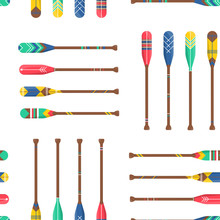 Seamless Pattern With Oars Or Paddles Boat