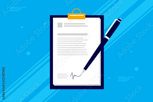 Fototapeta Business contract signing - Pen signing a contract on clipboard with blue background. Simple corporate vector illustration. obraz