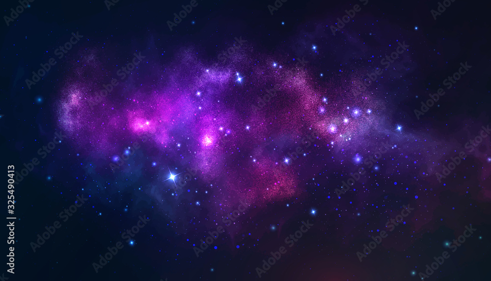 Fototapeta Vector cosmic illustration. Colorful space background with stars