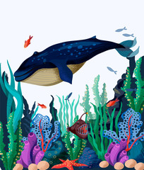 Fototapeta Marynistyczny Vector illustration of the seabed with whale, fish and marine plants.