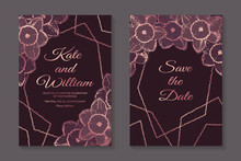Set Of Modern Luxury Wedding Invitation Design Or Card Templates For Business Or Presentation Or Greeting With Rose Gold Flowers And Frames On A Dark Pink Background.