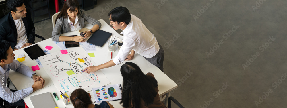 Fototapeta Group of Asian business people team meeting in modern office working design planning and ideas concept