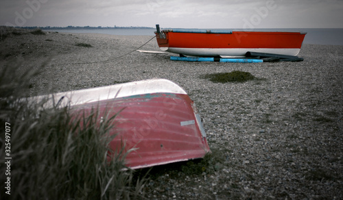 Two boats on the coast of dunwich Canvas Print