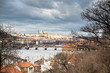 View from Visegrad to winter Prague, bridges and St. Vitus Cathedral
