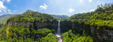 Aerial view of the El Salto de Tequendama, one of the most imposing waterfalls in Colombia, fed by the polluted Bogota river