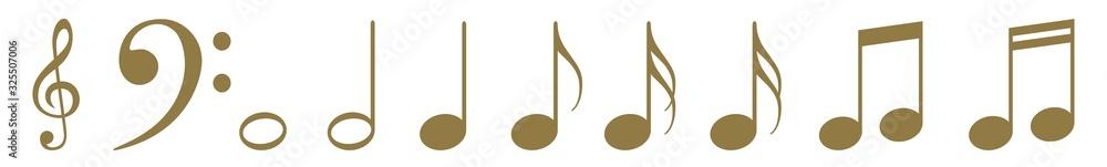 Fototapeta Music Notes Icon Gold | Note Illustration | Clef Symbol | Sound Logo | Tone Sign | Isolated | Variations