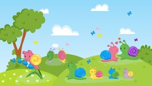 Happy Couple, Family Of Snails Animals On Nature Vector Illustration. Cartoon Colorful Cute Smiling Adult Snails, Mother With Children Walk On Grassland. Flowers, Trees, Butterflies.
