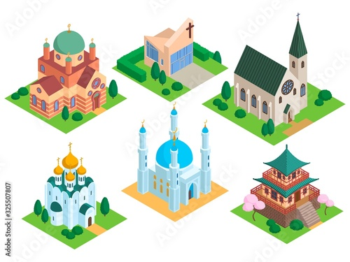 Foto Church isometric vector temple religion building