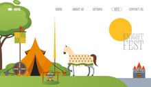 Medieval Festival Camp Website, Tent And Horse At Middle Ages Campsite, Vector Illustration. Tournament Event Entertainment, Medieval Culture Festival, Landing Page Template. Middle Ages Weapons