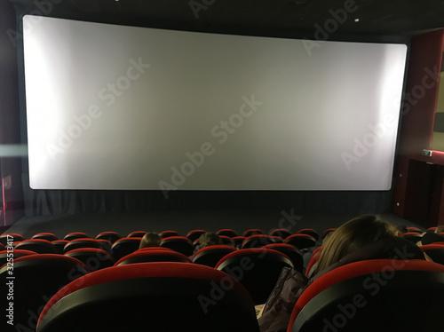 Photo cinema auditorium with screen