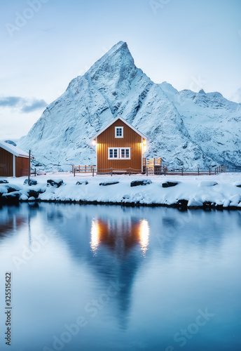 Canvas Print View on the house in the Sarkisoy village, Lofoten Islands, Norway