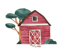 Hand-painted Watercolor Drawing, Wooden Red Barn And Tree. Object On A White Background, For Design Compositions On The Theme Of Farm Life Or Life In The Suburbs.