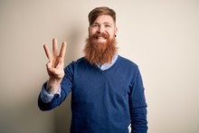 Handsome Irish Redhead Business Man With Beard Standing Over Isolated Background Showing And Pointing Up With Fingers Number Three While Smiling Confident And Happy.