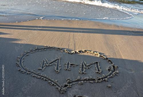 serce na plaży Wallpaper Mural