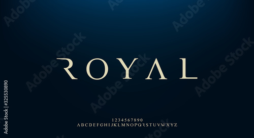 Leinwand Poster Royal, an elegant alphabet font and number