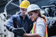 canvas print picture - Two maintenance engineers men and women inspect relay protection system with laptop comp. They work a heavy industry manufacturing factory.