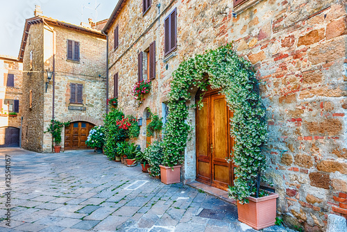 Medieval streets in the town of Pienza, Tuscany, Italy