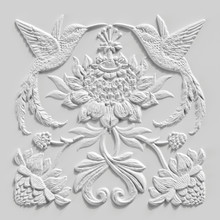 3d Render, White Floral Carving, Gypsum Decor, Hummingbirds, Tropic Birds, Carved Stone Tile, Botanical Pattern, Medieval Ornament, Alabaster Plaster Texture, Tropical Flowers And Leaves Motif