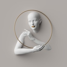 3d Render, Female Portrait Inside Golden Round Frame, Mannequin Body Parts Isolated On White Background. Bold Head, Beautiful Face, Hands. Product Display For Jewelry Shop. Minimal Fashion Showcase