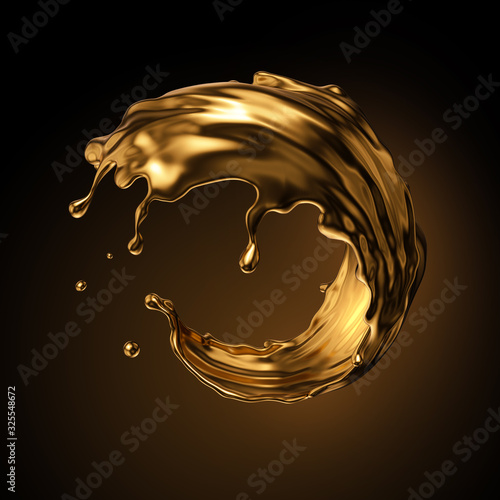 3d rendering, round gold liquid splash, metallic wave, swirl, cosmetic oil, golden splashing clip art, artistic paint, abstract design element isolated on black background. Luxury beauty concept Fototapete