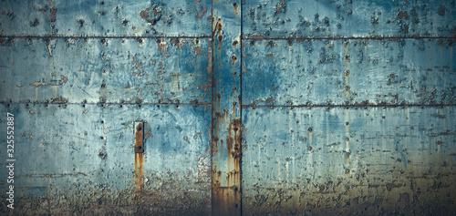 スタッドのある古びた青い門扉のテクスチャー Tapéta, Fotótapéta