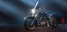 Classic Black Motorcycle In Dark Environment (3D Illustration)