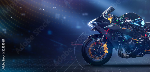 Modern sports motorcycle technology concept with highlighted parts (3D Illustration)