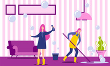 Two Characters Doing Housework. Woman Housekeeper Cleaning Floor In House. Housewife Or Cleaning Company Worker Washing Living Room. Cartoon Flat Vector Illustration. Cleaning Service Concept.