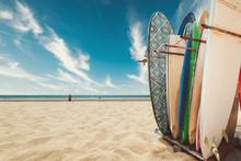 Surfboard On Tropical Beach In...