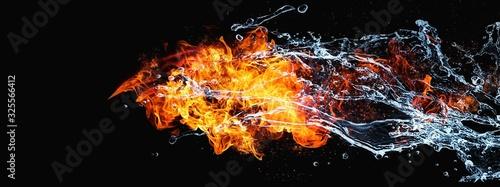 絡み合う抽象的な炎と水 Canvas Print