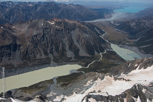 Aerial view of Hooker Lake,Mueller Glacial Lake and Lake Pukaki in Mount Cook National Park on South Island of New Zealand #325569468