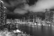 skyline of Harbor in Hong Kong city at night