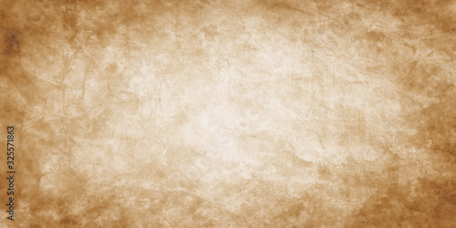 Old brown paper parchment background design with distressed vintage stains and i Canvas Print