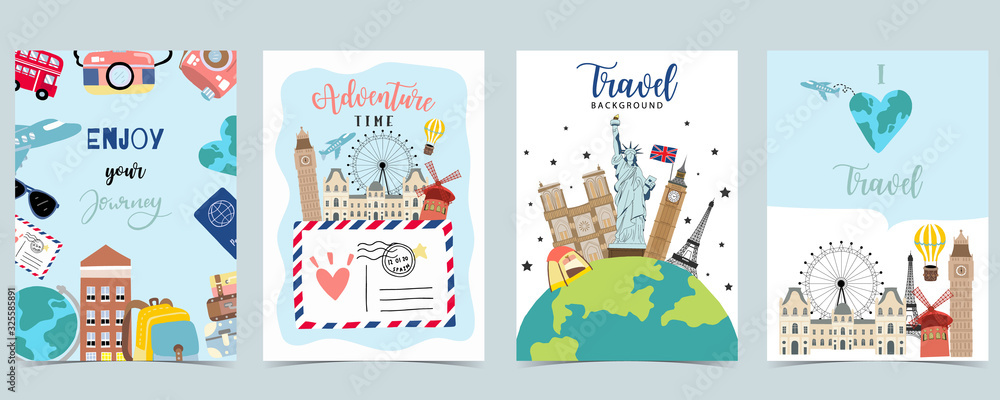 Fototapeta Travel to world background set in europe,america.Editable vector illustration for website, invitation,postcard and sticker.include wording enjoy your journey, adventure time