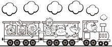 Group Of Animals In The Train,...