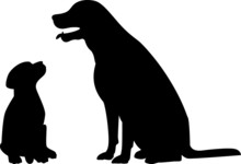 Dog  With Her Puppy Silhouette Isolated On White Background. Vector Image