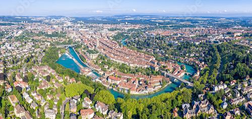 Obraz Bern, Switzerland. Panorama. The historical part of the city. Aerial view - fototapety do salonu