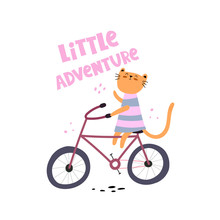 Little Adventure. Cartoon Cat ...