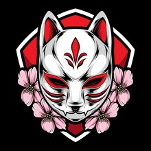 Kitsune Mask With Sakura Vector
