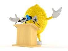 Lemon Character Gives A Presen...
