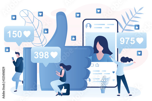 Fototapeta People characters in trendy style,social network and humans concept background