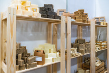 Handmade Natural Soap In Wooden Boxes. Cosmetic Soap Made From Natural Ingredients.