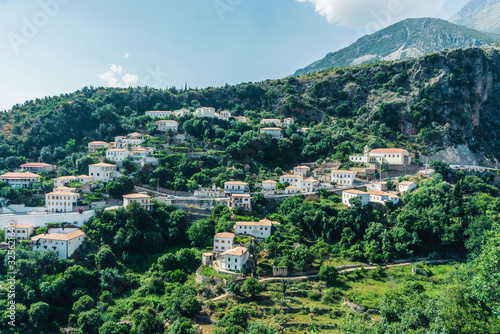The stunning mountain town of Dhermi, stuck in the middle of Albanian alps and y Wallpaper Mural