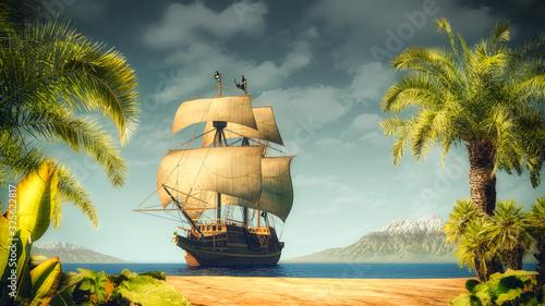 Fotografija Pirates ship on the sea